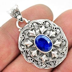 2.92cts natural blue sapphire oval 925 sterling silver pendant jewelry t42926