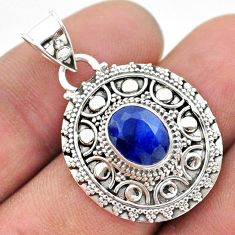 3.28cts natural blue sapphire oval 925 sterling silver pendant jewelry t42943