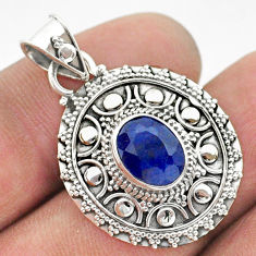 3.13cts natural blue sapphire oval 925 sterling silver pendant jewelry t42944