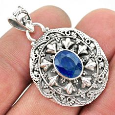 3.28cts natural blue sapphire oval 925 sterling silver pendant jewelry t42947