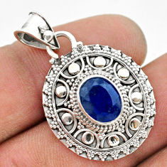 3.11cts natural blue sapphire oval 925 sterling silver pendant jewelry t42966
