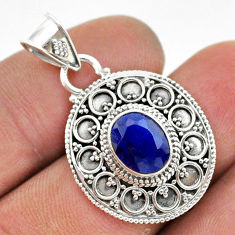 2.95cts natural blue sapphire oval 925 sterling silver pendant jewelry t42967