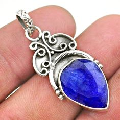 8.73cts natural blue sapphire pear 925 sterling silver pendant jewelry t40855