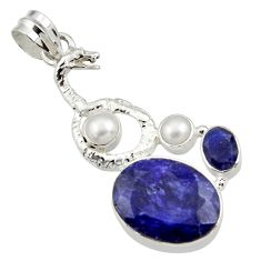 Clearance Sale- 14.21cts natural blue sapphire pearl 925 silver anaconda snake pendant d43780