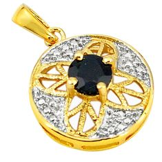 Natural blue sapphire round 925 sterling silver 14k gold pendant c22798