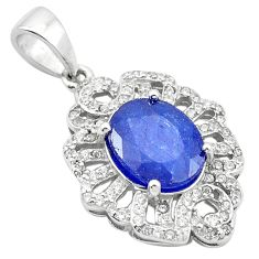 6.09cts natural blue sapphire topaz 925 sterling silver pendant jewelry c18101