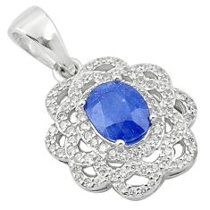 3.44cts natural blue sapphire topaz 925 sterling silver pendant jewelry c18109