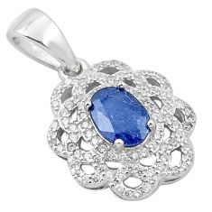 3.43cts natural blue sapphire topaz 925 sterling silver pendant jewelry c18111