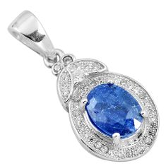4.52cts natural blue sapphire topaz 925 sterling silver pendant jewelry c18107