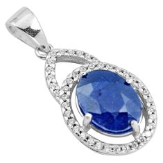 5.54cts natural blue sapphire topaz 925 sterling silver pendant jewelry c18119