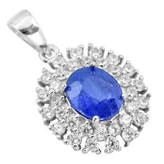 8.06cts natural blue sapphire topaz 925 sterling silver pendant jewelry c18103