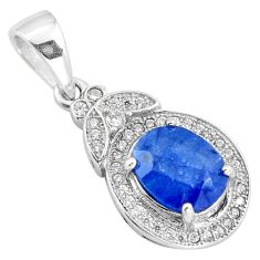 3.94cts natural blue sapphire topaz 925 sterling silver pendant jewelry c18110