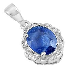 5.44cts natural blue sapphire topaz 925 sterling silver pendant jewelry c18113