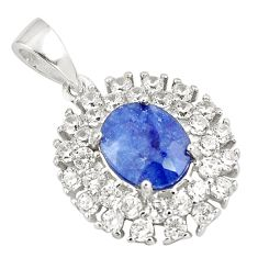 4.32gms natural blue sapphire topaz 925 sterling silver pendant jewelry c18116