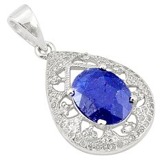 Natural blue sapphire topaz 925 sterling silver pendant jewelry c18112