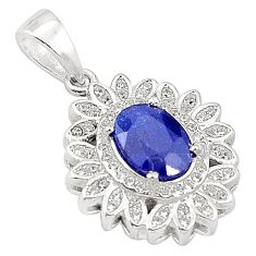 Natural blue sapphire topaz 925 sterling silver pendant jewelry c18114