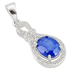 Natural blue sapphire topaz 925 sterling silver pendant jewelry c18105
