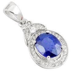 5.02cts natural blue sapphire white topaz 925 sterling silver pendant c18120