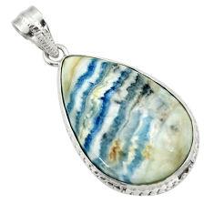 22.05cts natural blue scheelite (lapis lace onyx) 925 silver pendant r32121