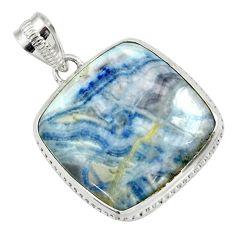 21.48cts natural blue scheelite (lapis lace onyx) 925 silver pendant r32123