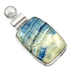 21.48cts natural blue scheelite (lapis lace onyx) 925 silver pendant r32125