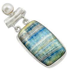 25.60cts natural blue scheelite (lapis lace onyx) 925 silver pendant r41671