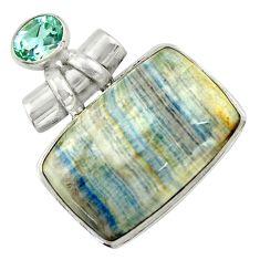 28.67cts natural blue scheelite (lapis lace onyx) 925 silver pendant r41673