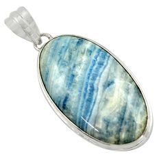 19.72cts natural blue scheelite (lapis lace onyx) 925 silver pendant r41737