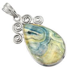 19.20cts natural blue scheelite (lapis lace onyx) 925 silver pendant r41740