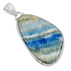27.49cts natural blue scheelite (lapis lace onyx) 925 silver pendant r45871