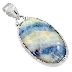 19.70cts natural blue scheelite (lapis lace onyx) 925 silver pendant r45898