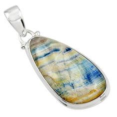 16.32cts natural blue scheelite (lapis lace onyx) 925 silver pendant r45912
