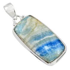 22.00cts natural blue scheelite (lapis lace onyx) 925 silver pendant r45913