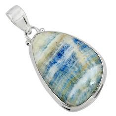 19.65cts natural blue scheelite (lapis lace onyx) 925 silver pendant r45915