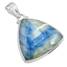 22.02cts natural blue scheelite (lapis lace onyx) 925 silver pendant r45917
