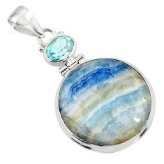 25.00cts natural blue scheelite (lapis lace onyx) 925 silver pendant r45921