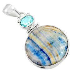 19.60cts natural blue scheelite (lapis lace onyx) 925 silver pendant r45928