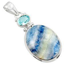 18.93cts natural blue scheelite (lapis lace onyx) 925 silver pendant r45929
