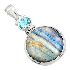 22.59cts natural blue scheelite (lapis lace onyx) 925 silver pendant r45930