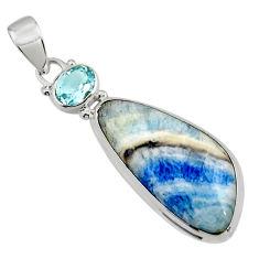 17.35cts natural blue scheelite (lapis lace onyx) 925 silver pendant r45932