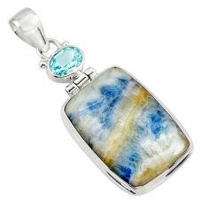 22.46cts natural blue scheelite (lapis lace onyx) 925 silver pendant r45933