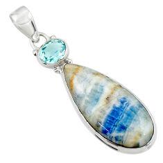18.20cts natural blue scheelite (lapis lace onyx) 925 silver pendant r45935