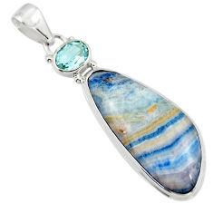 18.82cts natural blue scheelite (lapis lace onyx) 925 silver pendant r45937