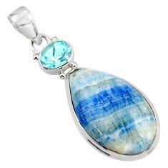 17.45cts natural blue scheelite (lapis lace onyx) 925 silver pendant r45938
