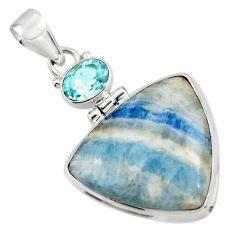20.72cts natural blue scheelite (lapis lace onyx) 925 silver pendant r45939
