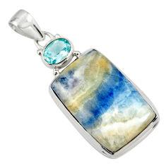 24.38cts natural blue scheelite (lapis lace onyx) 925 silver pendant r45940