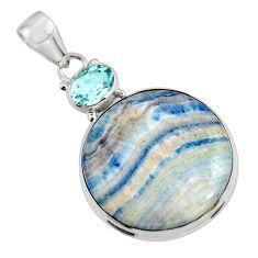 22.70cts natural blue scheelite (lapis lace onyx) 925 silver pendant r45951