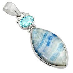 15.80cts natural blue scheelite (lapis lace onyx) 925 silver pendant r45955