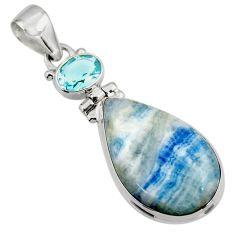 17.38cts natural blue scheelite (lapis lace onyx) 925 silver pendant r45957