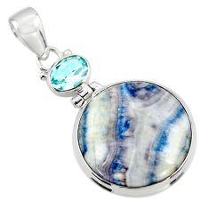 19.65cts natural blue scheelite (lapis lace onyx) 925 silver pendant r45959